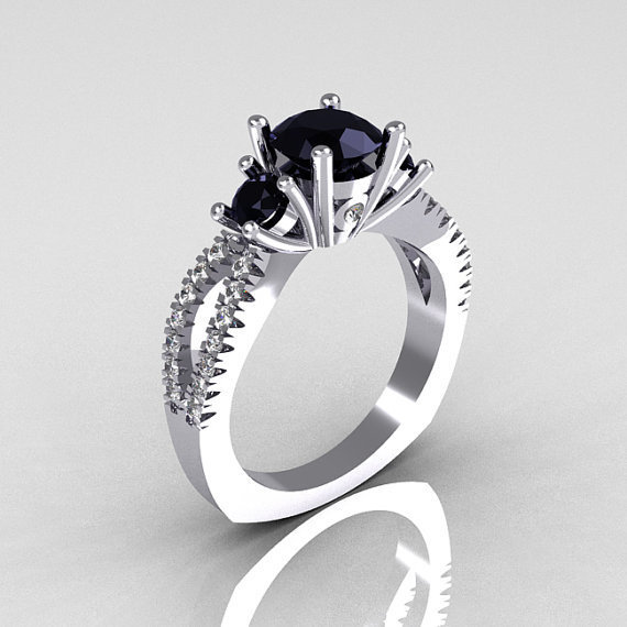 Modern French Bridal 14K White Gold Three Stone 1.0 Carat Black Diamond Accent White Diamond Engagement Ring R140-14WGDBD