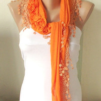 Orange, Mandarin  Cotton Scarf with three roses and tassel Lace