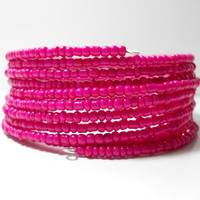 ON SALE Memory Wire Bracelet Neon Pink Stacked Bracelet Beaded Wrap Bracelet Christmas in July CIJ