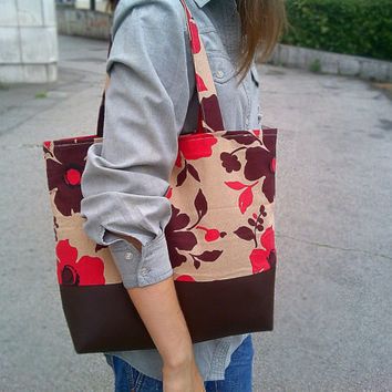 Messenger Bag - Leather Bag - Brown Canvas Bag - Handbag