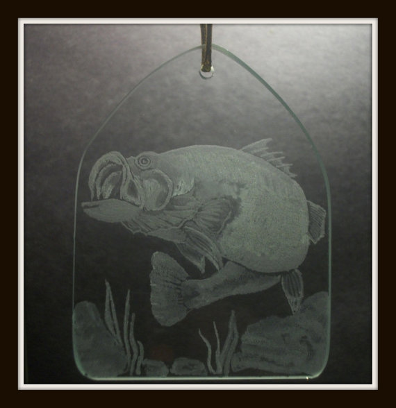 Engravedglass suncatcher ornament, Large mouth bass, hand engraved glass  decoration , gift for fisherman or fisherwoman