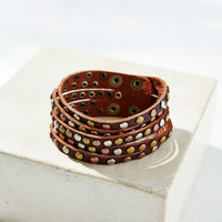 Studded Leather Bracelet- Brown One