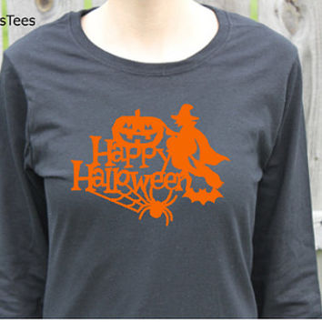 Happy Halloween Shirt, Long Sleeve Shirt, Womens
