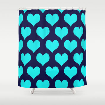 Hearts of Love Navy Turquoise Shower Curtain by Beautiful Homes