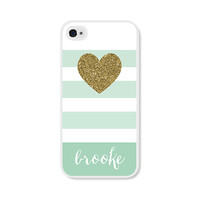 Monogram iPhone 5 Case - Monogrammed Gift - Personalized iPhone 5c Case - Mint and Gold iPhone Case Striped Personalized iPhone 4 Case Gold