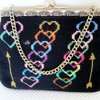 Vintage Christine Custom Bags Detroit Michigan HEARTS & ARROWS Needlepoint Handbag Frame Bag Purse