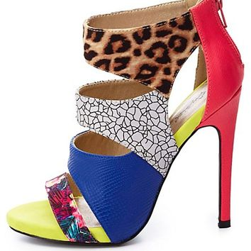 Qupid Mixed Media Cut-Out Heels by Charlotte Russe - Camel