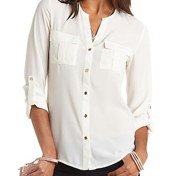 Button-Up High-Low Tunic Top by Charlotte Russe