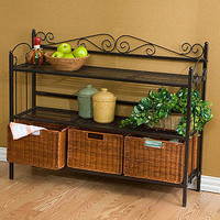 Crestview Sideboard Baker's Rack with Baskets