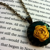 Embroidered Golden Rose Pendant Necklace - Silk Ribbon Embroidery by BeanTown Embroidery