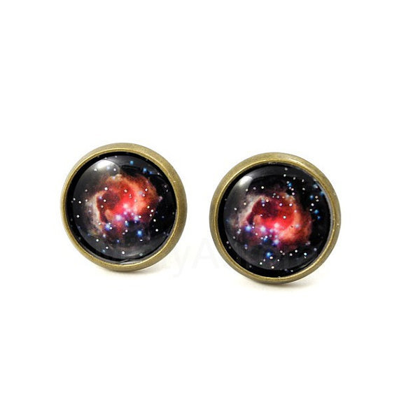 Galaxy Earrings - Round Space Studs Black Pink Jewelry Free Worldwide Shipping