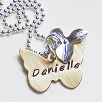 Personalized Butterfly Name Necklace Gold Brass Hand Stamped Custom Necklace with Orchid Flower Charm Gift for Her