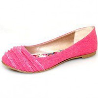 PINK DENIM FRILLED FLAT @ KiwiLook fashion