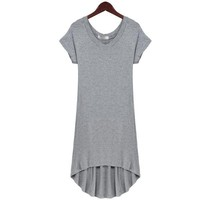 Bqueen V-neck Short-sleeved Dovetail Dress Gray SK011W - Designer Shoes|Bqueenshoes.com