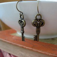 Antiqued Key Earrings by sodalex on Etsy