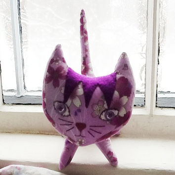 SALE- TAKE OFF 15% Plush Toy Kitty Cat, Orchid and Magenta