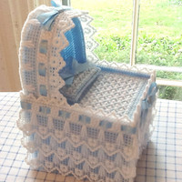 SALE- TAKE 15% OFF Tissue Box Cover, Blue Baby Bassinette