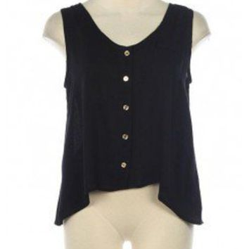 BLACK BUTTON DOWN TRENDY TOP @ KiwiLook fashion