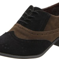 Wanted Shoes Women`s Graham Oxford,Black/Brown,8.5 M US
