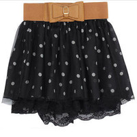 YESSTYLE: HSTYLE- Polka-Dot Tulle Skirt (Black - M) - Free International Shipping on orders over $150