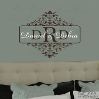 Damask Style Monogram Wall Decal by LeenTheGraphicsQueen on Etsy