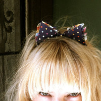 cat ears headband woman teen unique hair accessories polka dots blue