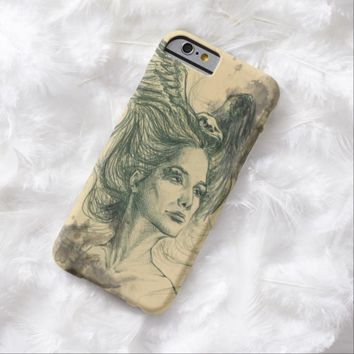 Woman portrait bird skull and wings iPhone 6 case