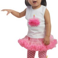 Mud Pie Girls Baby Birthday Cupcake Tank Top and Pettiskirt