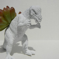Stark White Minimalist Dinosaur Planter Modern Succulent Planter Wedding Gift Pachycephalosaurus