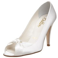 Bridal by Butter Women`s Caden Peep-Toe Pump,White Satin,7 M US