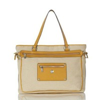 "Knomo Laurel 15"" Top-Zip 28-255-Laptop Bag,Natural/Yellow Trim,One Size"