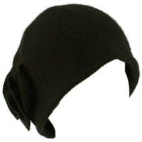 100% Wool Winter Cloche Crushable Foldable Bucket Flower Church Hat Cap Black M/L