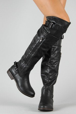 Bamboo Montage-03N Zipper Round Toe Riding Boot