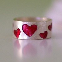 Sterling Silver Band Ring with Red Hearts Mothering Day