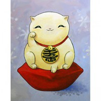 ShanaLogic.com - 100% Handmade  Independent Design! Maneki Neko (Lucky Cat) Print  - Prints: Large Sizes - Fine Art
