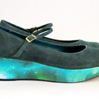 Hand made vintage galaxy cosmic nebula print platform wedge shoe size UK 5/6