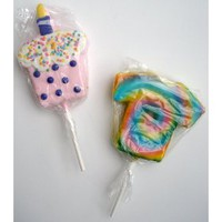 Two-Pack Jumbo Oversized Rice Krispies Treats Specialty Gourmet Gift Pops - Tie Dye Shirt & Birthday Cupcake (Pink)