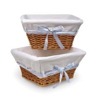 Badger Basket Honey Wicker Nursery Basket with White Waffle Liner and 4 Ribbons Set of Two