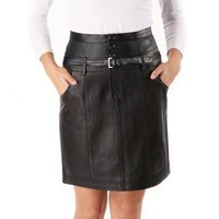 Jessie G. Women`s Lambskin Leather Buckle Up Pencil Skirt - Misses & Petite
