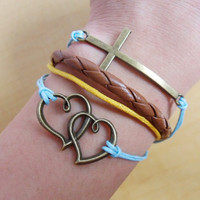 Adjustable cross wrist bracelet leather bracelet heart bracelet women bracelet with bronze cross double heart and leather  sh-10