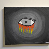 Original Painting Acrylic on Canvas - Rainbow Tears 8x10 in.- OOAK