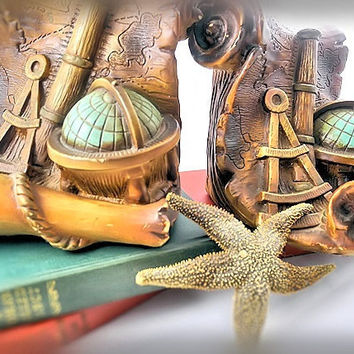 Book Ends Vintage 1967 World Traveler/ Nautical/ Pirate Treasure Map/ World Globe/ Telescope/ Hispaniola
