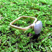 Square  Labradorite Vermeil Ring