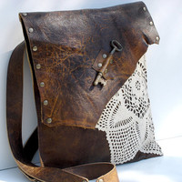 RESERVED for MONICAJ - PreOrder - Boho Leather Messenger Bag with Crochet Doily and Antique Key - Large Deluxe