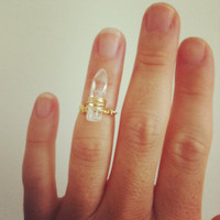 Polished quartz crystal point knuckle ring, Gold Vermeil and gold filled wire.