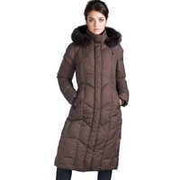 Jessie G. Women`s Long Hooded Down Parka Coat with Fox Fur Trim in Black or Brown