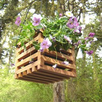 Hanging Planter Basket from Recycled Wood