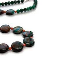 Rainforest Jasper Gemstone Necklace, Calsilica Jasper, Coral, Ultramarine Green, Tangerine Tango, Fall