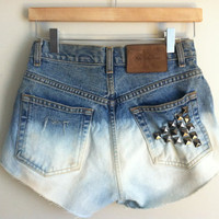 dip dyed &amp; distressed square studded high-waisted cutoffs