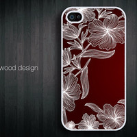iphone 4 case iphone 4s case iphone 4 cover red white linear art illustrator  flower graphic design printing
